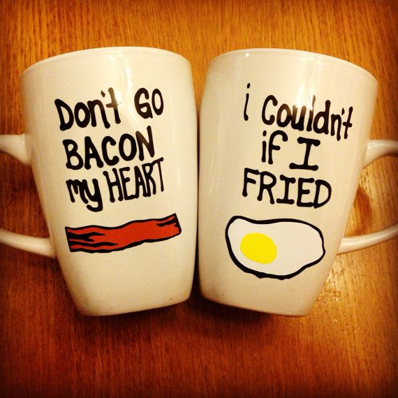 Bacon and Eggs Mugs Set by AllDressedUp13 on Etsy, $25.00