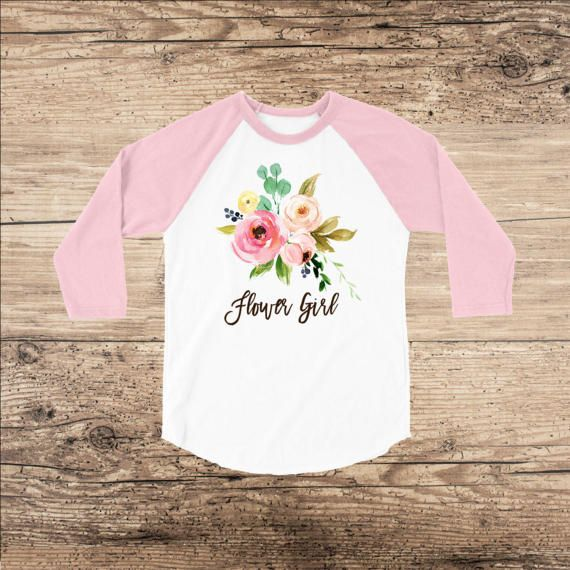 Flower Girl Shirt Watercolor Bouquet on Raglan