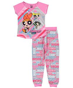 Powerpuff Girls fans will love the bold graphics of this 2-piece pajama set.    Powerpuff Girls 2-piece pajamas  Printed poly top with raglan sleeves, contrast serged stitching, and notched V-neckline (100% polyester)  Printed poly joggers with rib-knit elastic waistband and cuffs (100% polyester)  Flame resistant  Machine wash cold, gentle, inside out  Imported