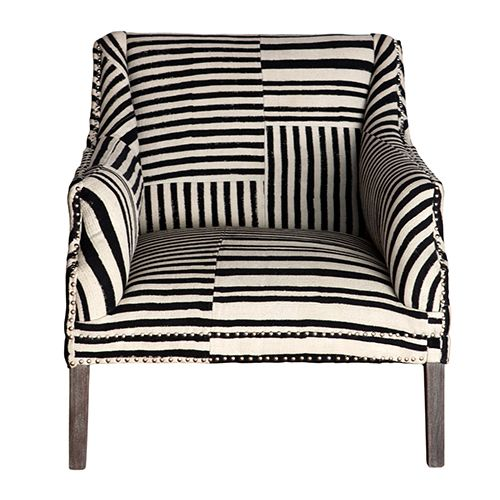 Bombay Studded Armchair - Block Print - Black / White