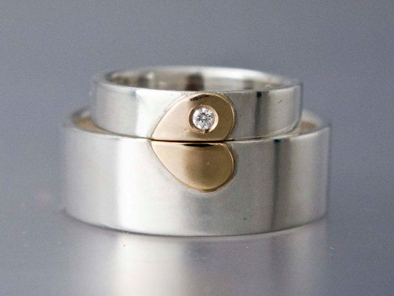 Gold Heart with Diamond Wedding Band Set in 14k Gold and