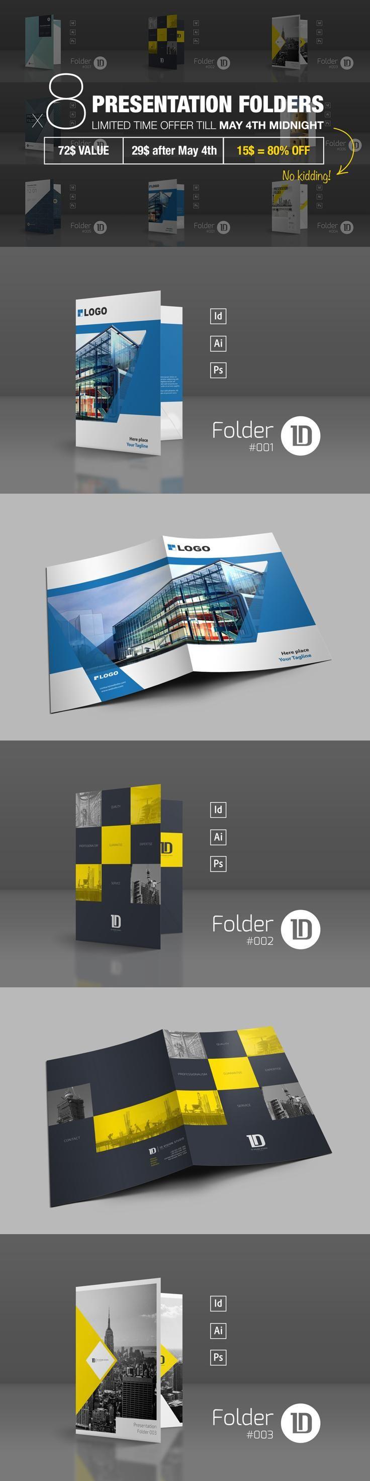 #folder #design from ID Vision Studio | DOWNLOAD: https://creativemarket.com/IDVisionStudio/664158-Bundle-8-Presentation-Folders?u=zsoltczigler