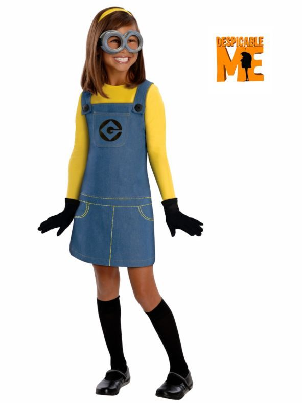 From the depths of Gru's evil laboratory comes this Minion Girl's Costume this Halloween!