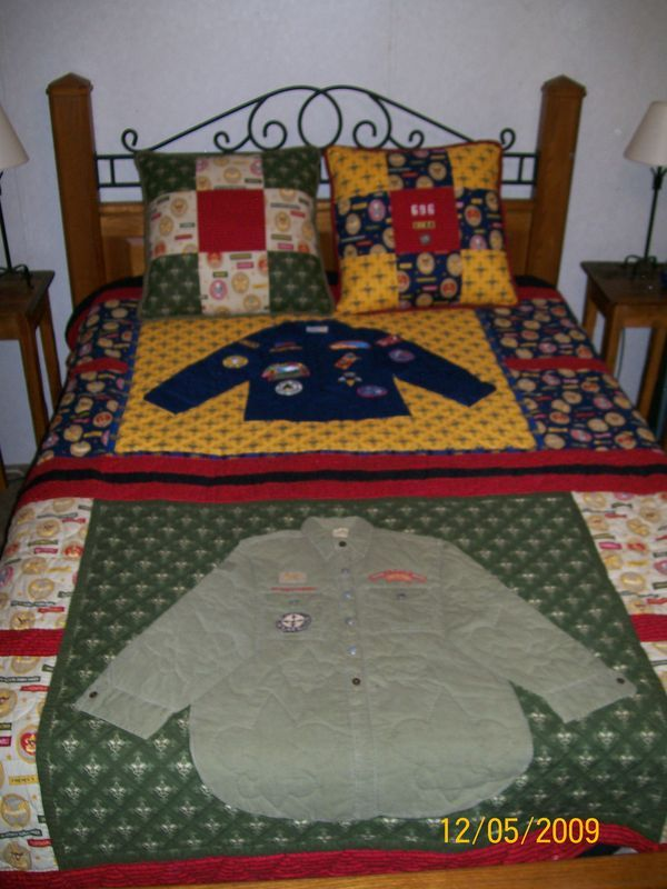 Quilt from Cub Scout shirts and patches.