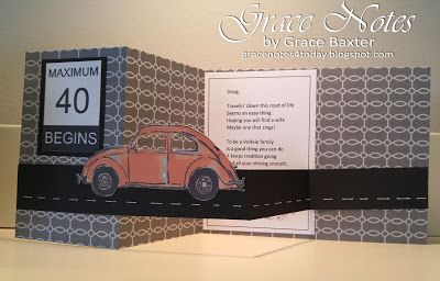 """VW Vintage Bug 40th birthday card opens to 11"""" wide. This card matches the gift itself and the gift bag. Details at gracenotes4today.blogspot.com #AgeBirthday #CricutDesignSpace"""
