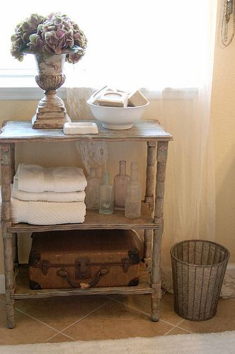 vintage bathroom storage