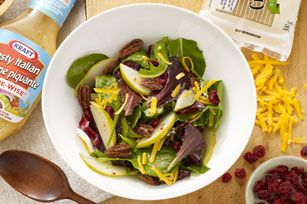 Mixed Greens and Pear Salad recipe.  Tastes great with Poppyseed dressing too.