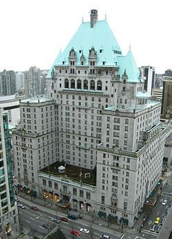 """The Hotel Vancouver is a hotel located on West Georgia Street & Burrard Street, in the heart of Downtown Vancouver, British Columbia. This building is the third hotel to be named """"Hotel Vancouver"""". The current building, a block away across the fountain plaza of the then-provincial courthouse and on the same side of Georgia, opened in May 1939."""