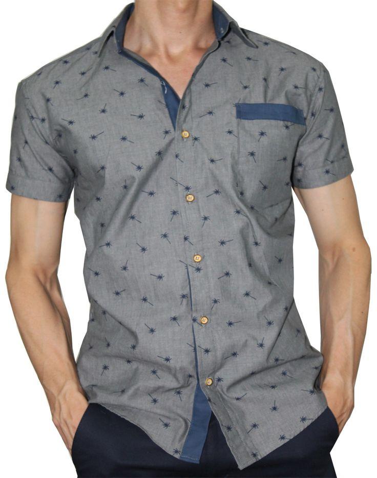 Camisa Slim Fit Francois Estampado Azul