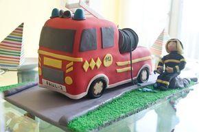 .: 3D Torte Feuerwehrauto mit Rezept und Anleitung #kindergeburtstag, #fondanttorte