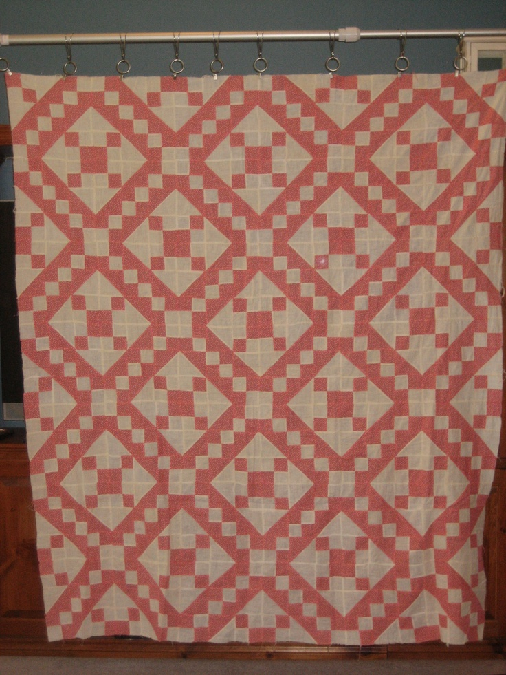 """Antique Quilt Top, @62""""x74"""". Hand pieced, and not quilted - yet ;). I think it is a Jacob's Ladder pattern."""