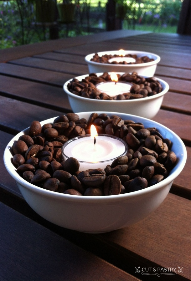 Love the smell of coffee? Place a tea candle in your favorite Scooter's coffee beans to give off instant coffee aroma.