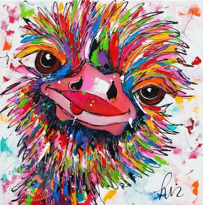 """Schilderij """" Struisvogel gekkigheid """" 60 x 60"""