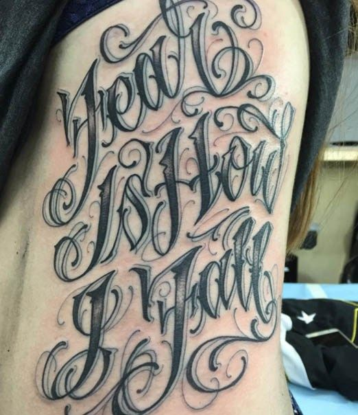 Script lettering from norm will rise inked inkedmag for Grey tattoo writing