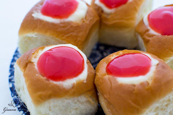 Recipe for Guava Cream Cheese Custard Rolls. Using King's Hawaiian sweet bread rolls.