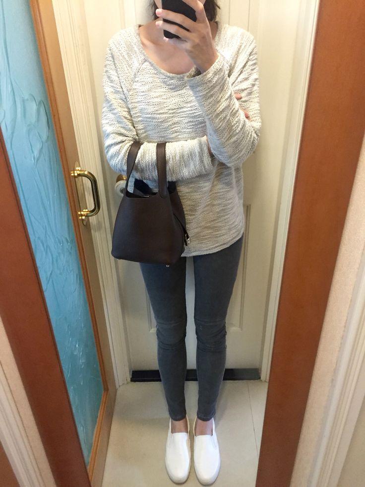 H&M tweet sweater, Zara biker skinny jeans, Comme Ca Store ...
