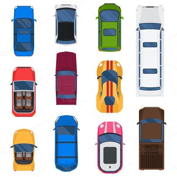 Car top view vector set
