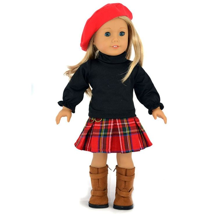 "3PC Hat+Black Blouse+Skirts School Doll Clothes For 18"" American Girl Doll Handmade: Amazon.ca: Toys & Games"