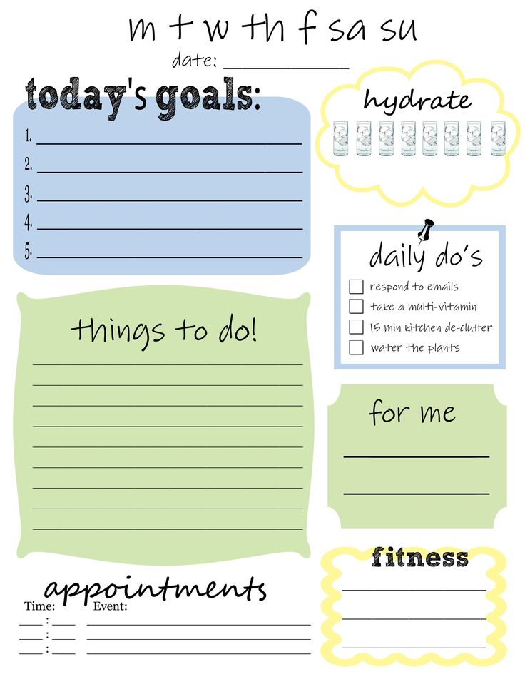 *** Make something like this for myself, with Bible reading plan, dailies, etc. weekly to do list printable   Free Printable Daily To Do List - That's What {Che} Said...
