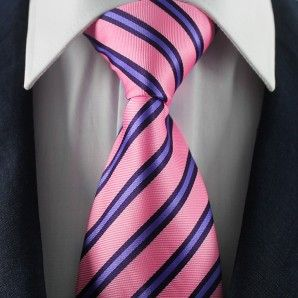 Pink & Purple Striped Neckties / Formal Business Neckties.