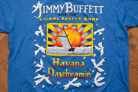 Jimmy Buffett Havana Daydreamin' T-Shirt, Coral Reefer Band, 1997 Concert Tour, Vintage 90s, Music Apparel, Anvil, L, Graphic Tee