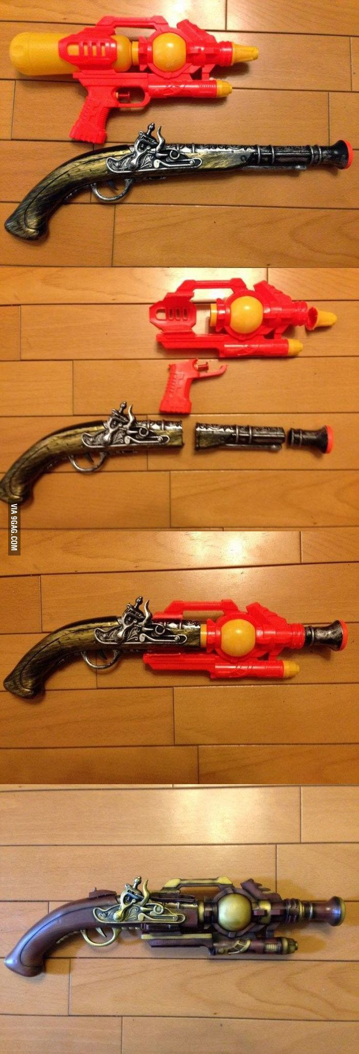 Transformation pistolet pirate en steampunk