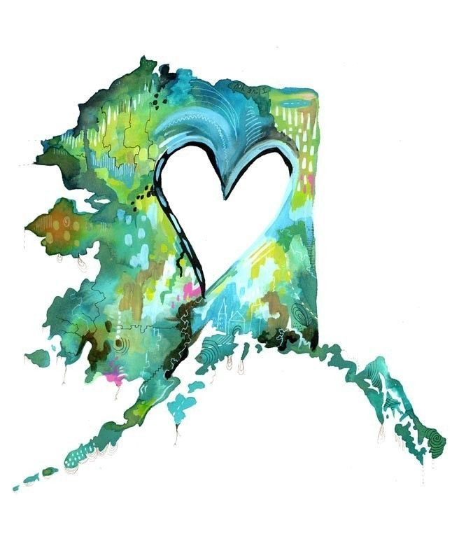 alaska....awhhhhh, I love this!!! The heart is in the middle....and my heart is in Alaska! :) awhhh