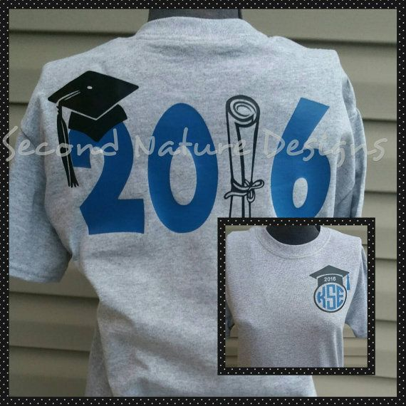 2016 High School or College Graduate T-Shirt /  Monogram Graduation Shirt / 2016…
