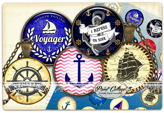 Nautical Cabochon images Digital Download Pendant by PrintCollage