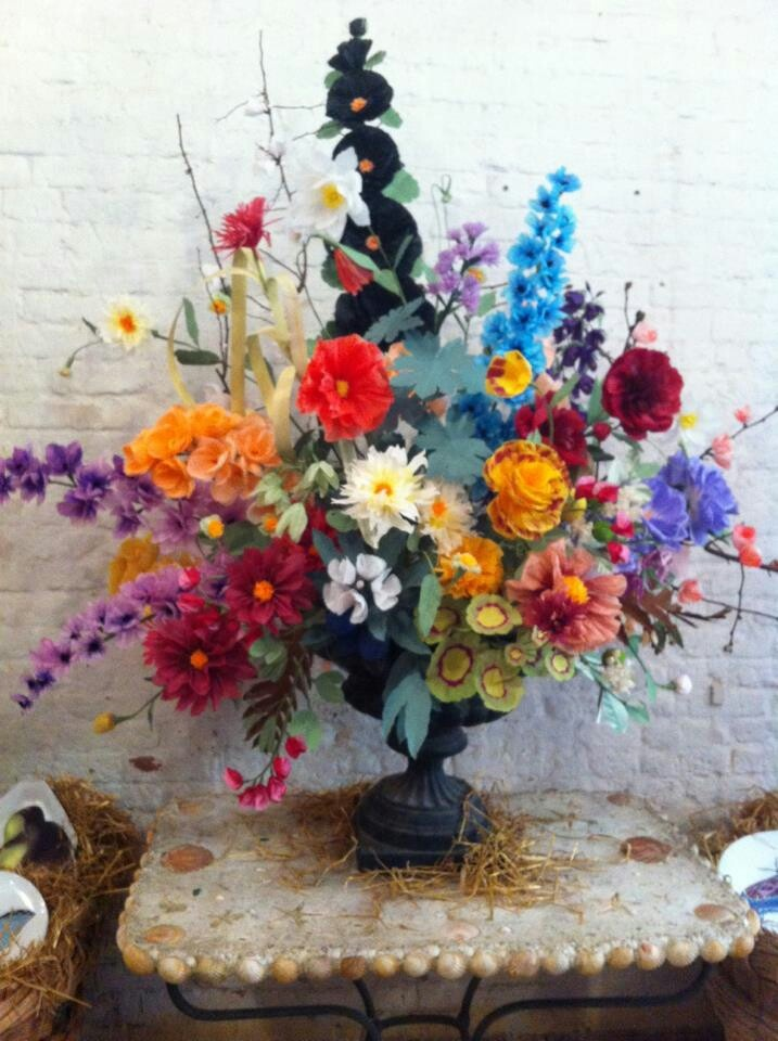 Livia Cetti's amazing paper floral arrangement for Astier de Villatte spring event via @JohnDerian