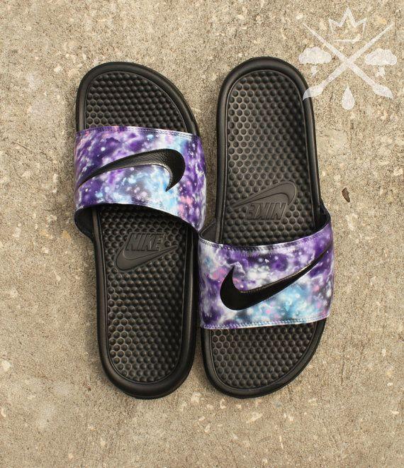 Nike Custom Galaxy Nebula Benassi Swoosh Slide Sandals Flip flops Mens