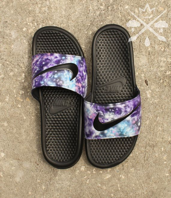 Nike Custom Galaxy Nebula Benassi Swoosh Slide Sandals Flip flops Men's