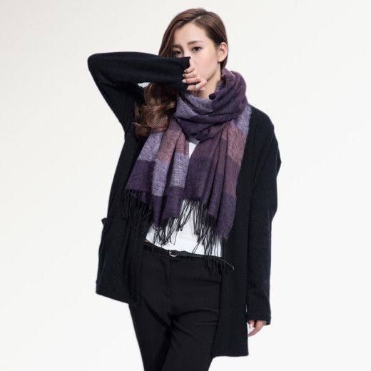 Kvalitný ručne tkaný kašmírový a bavlnený šál - model 06