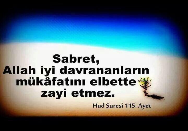 (Ey Muhammed!) Sabırlı ol, çünkü Allah güzel iş yapanların mükâfatını zayi etmez. {Hud,115}