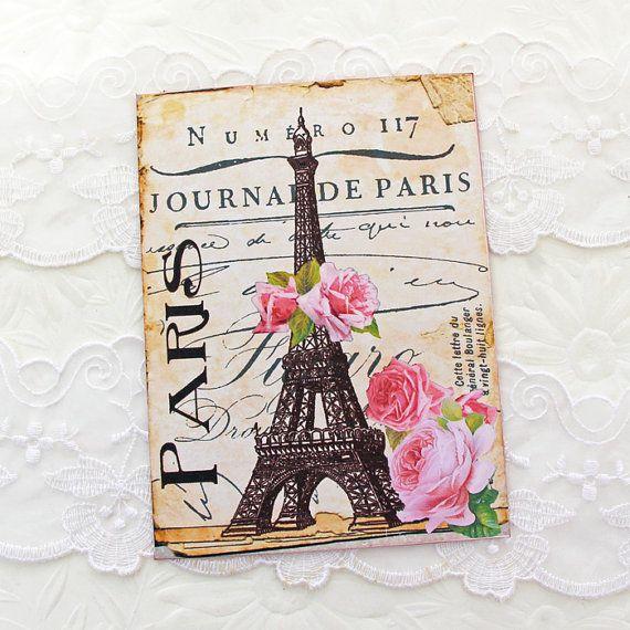 Eiffel Tower Note Cards Vintage Paris Flat by EnchantedQuilling
