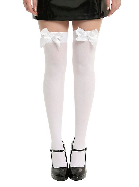 FRILLY THIGH HIGH Stockings RIBBED w//SATIN BOWS Chiffon RUFFLE Over-the-Knee OS