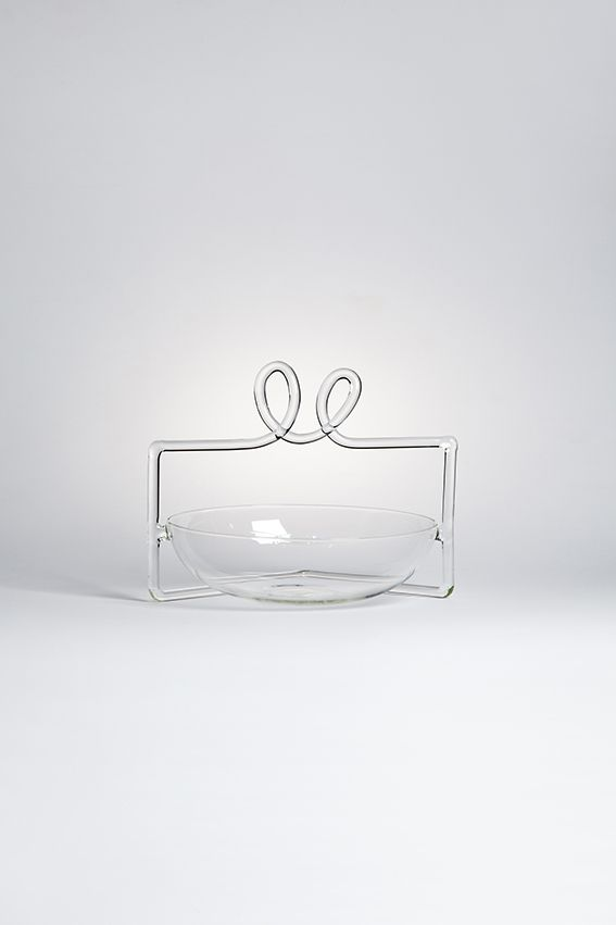 "SARA designed by Ryu Yamamoto - Sara is derived from a Japanese character ""皿"" which means a plate. The plate is covered by a horizontal frame and two handles. As a part of letter's history, I give a perspective to it and evolve an object.#drawingglass #fabricadesignstudio #fabrica #design #glass #ryuyamamoto #massimolunardon"
