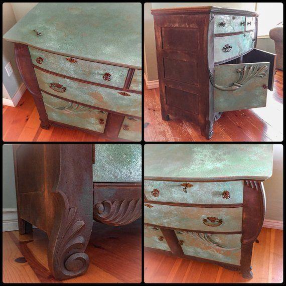 Locking Antique Dresser Patina Rusted Bureau Credenza