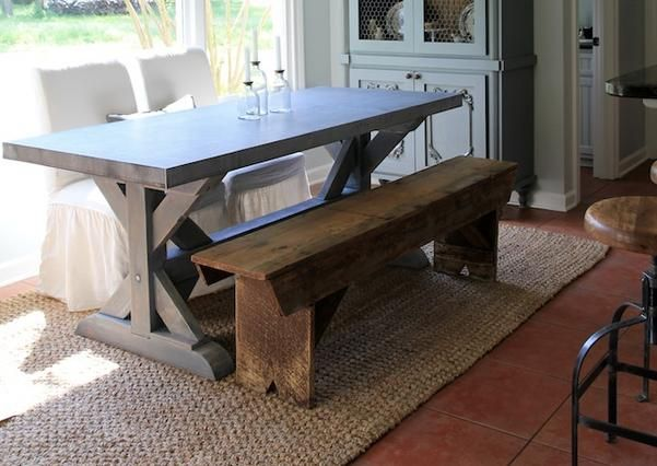 SDS Designs   Zinc Top Table With A Wood Farm Trussell Base   Custom Made  Zinc Tables, Any Size, And You Pick Color And Style Of Base U2013 Showroom:  Antique ...