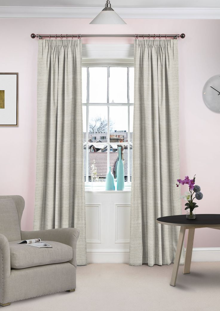 Cali Grey And White - Versatile neutral-hued curtains with a plain pattern.