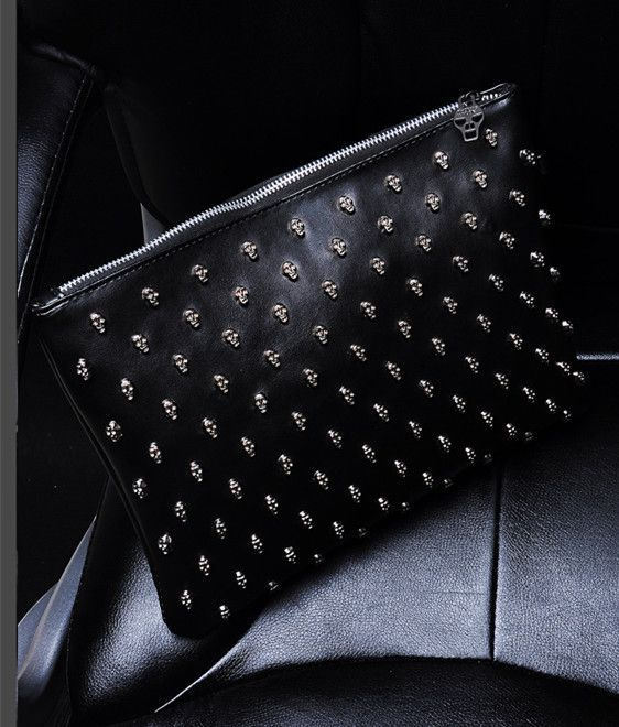 Thomas Wylde Skull Stud Leather Clutch