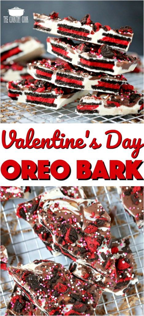 Valentine's Day Oreo Bark recipe from The Country Cook #nobake #desserts #easy #recipes