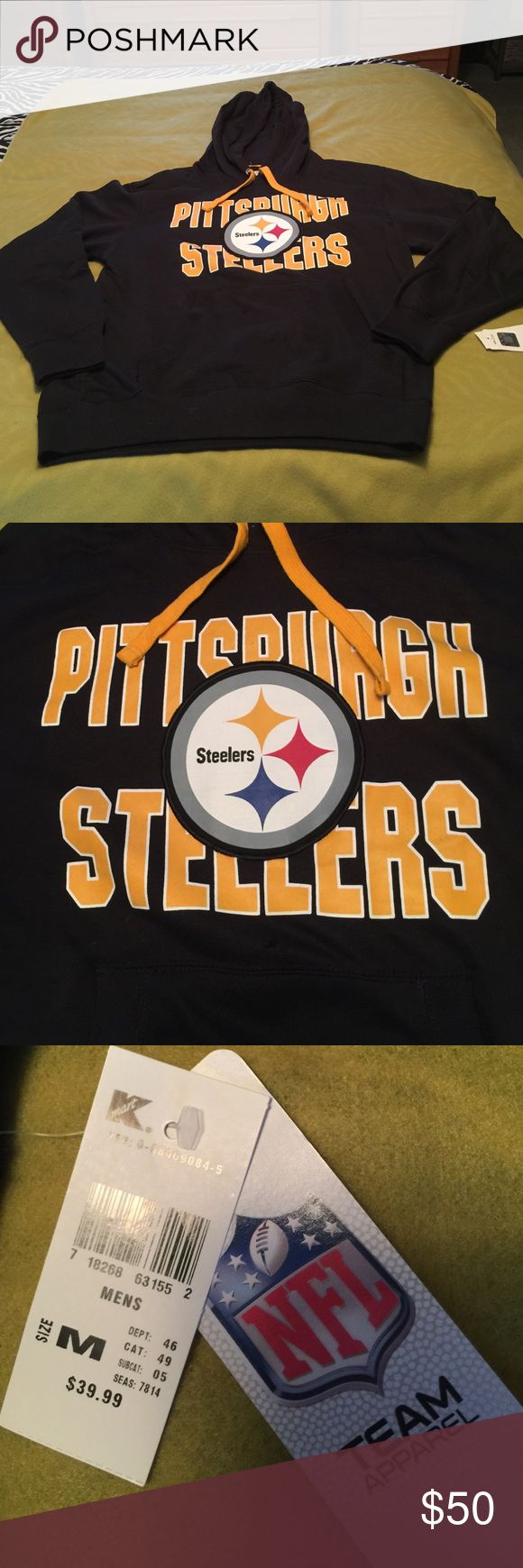 Men's Pittsburgh Steelers sweatshirt, size medium Men's Pittsburgh Steelers sweatshirt, size medium by NFL Team Apparel.  Black, gold/white Steelers logo & graphics on front, back is plain.  Hood w/gold drawstring tie, front pouch.  Pit to pit is 22, waist is 22, top to bottom is 27, sleeve is 21.5.  Officially licensed by the NFL. NWT. NFL Team Apparel Pgh Steelers Tops Sweatshirts & Hoodies