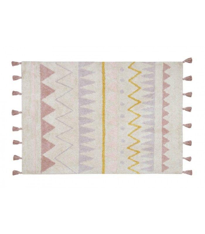 La alfombra ideal para habitaciones infantiles con estilo que buscan dar un toque cálido con una alfombra diferente y muy original con un estampado boho chic. Esta alfombra de aire bohemio con el estampado étnico tipo azteca en colores pastel le da un
