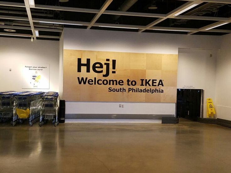 """The welcome sign just inside the front entrance of the Ikea Home Furnishings store at the Columbus Commons shopping center along Columbus Blvd. in South Philadelphia. The Swedish word """"Hej"""" translates to """"Hello."""""""