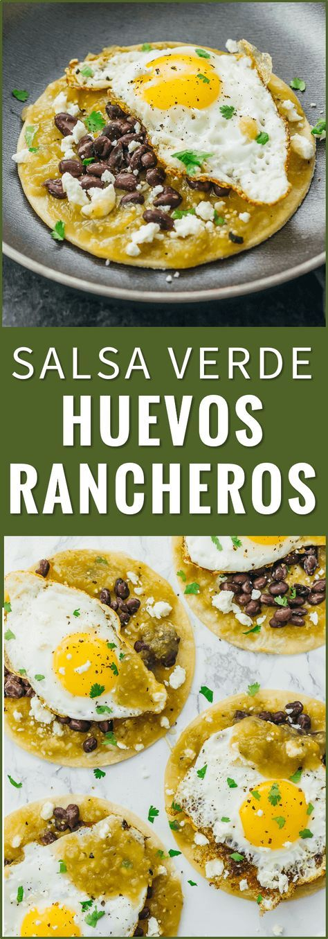 Huevos rancheros are a delicious and healthy Mexican breakfast with fried eggs, black beans, salsa verde, and cheese over corn tortillas. recipe, authentic, easy, sauce, breakfast, mexicanos, skillet, receta, tacos, vegetarian, tostadas, bowl, pioneer wom http://healthyquickly.com