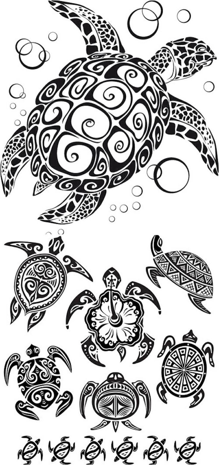 Belle coloriage de tatouage d 39 animaux tahitien gratuit - Coloriage tahiti ...