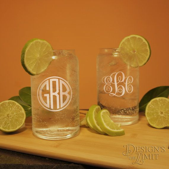 Bridal Party Personalized Glass Can Cocktail Glasses with Wedding Monogram Design Options and Font Selection (Each) by DesignstheLimit #TrendingEtsy