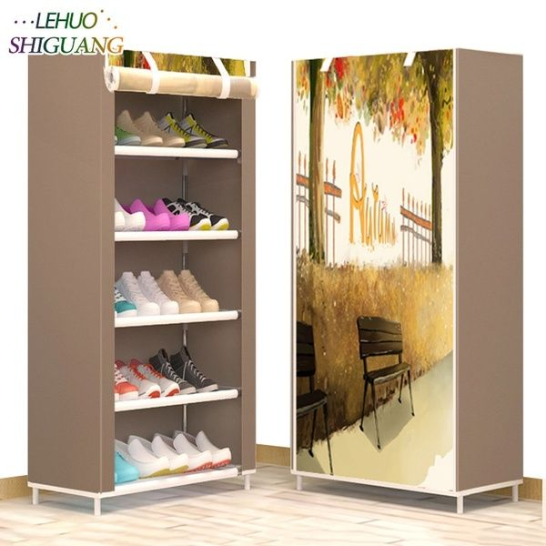 Shoe Cabinet 6 Layer 5 Grid Non Woven Fabrics Large Shoe Rack