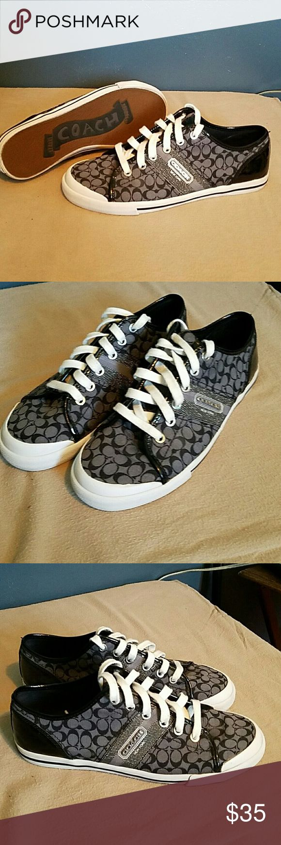 Super Fun Coach tennis shoes size 9B Super cute and fun. Only worn a couple times. Coach Shoes Sneakers